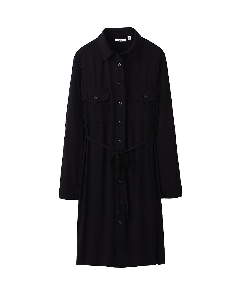 Just style this Uniqlo military long-sleeve dress ($40) with a wide belt at the waist to flatter your figure, then finish with tights and booties.