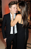 Victoria Beckham gave her son Brooklyn a kiss during the Harper's Bazaar Women of the Year Awards.