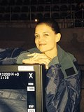 Katie Holmes smiled on the set of The Giver in South Africa. Source: Twitter user KatieHolmes212