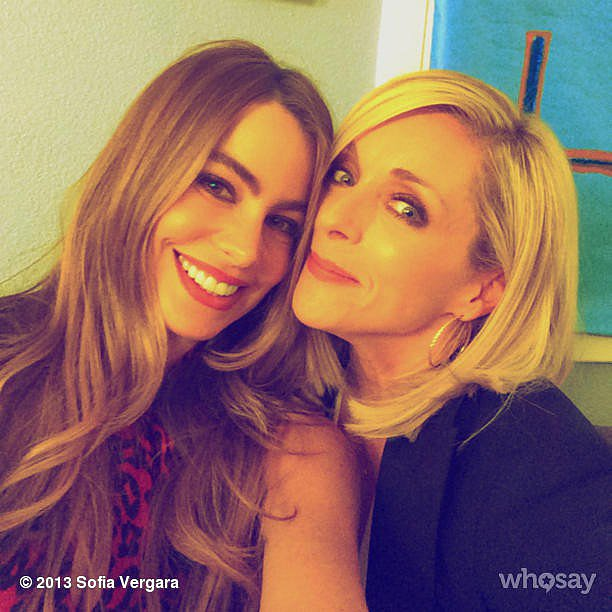 Sofia Vergara shared a behind-the-scenes snap while filming Modern Family with guest star Jane Krakowski. Source: Sofia Vergara on WhoSay
