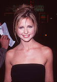 Sarah Michelle Geller's powdered face and navy shadow meshed perfectly with her heavily rimmed eyes.