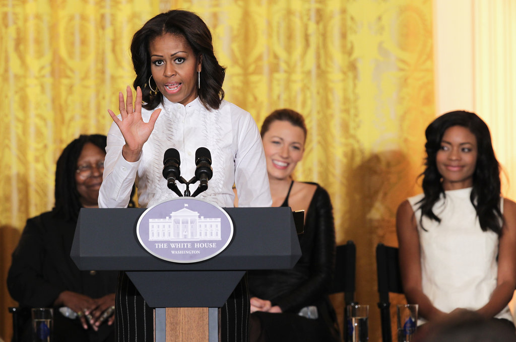 Michelle Obama welcomed students to the White House to speak with people in the film industry.