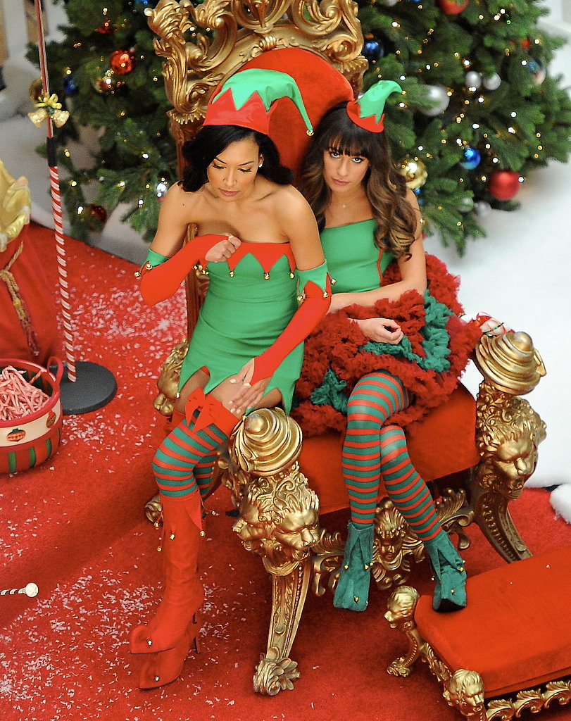 Lea Michele and Naya Rivera prepared to film Glee's Christmas episode in LA on Thursday.