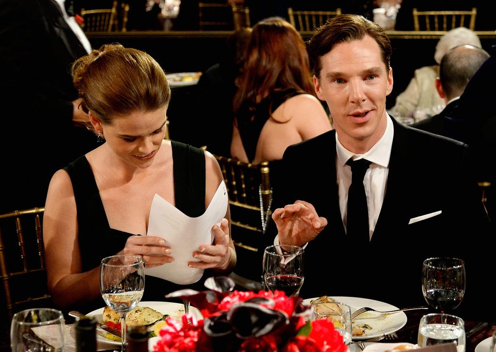 Benedict Cumberbatch sat with his Star Trek costar Alice Eve.