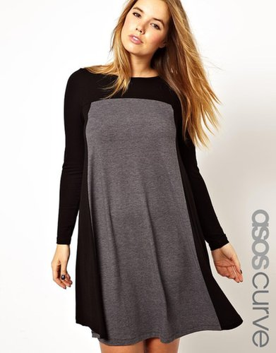 ASOS CURVE Exclusive Swing Dress In Color Block