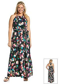 Tea Rose Plus Size Sleeveless Halter Abstract Print Maxi Dress