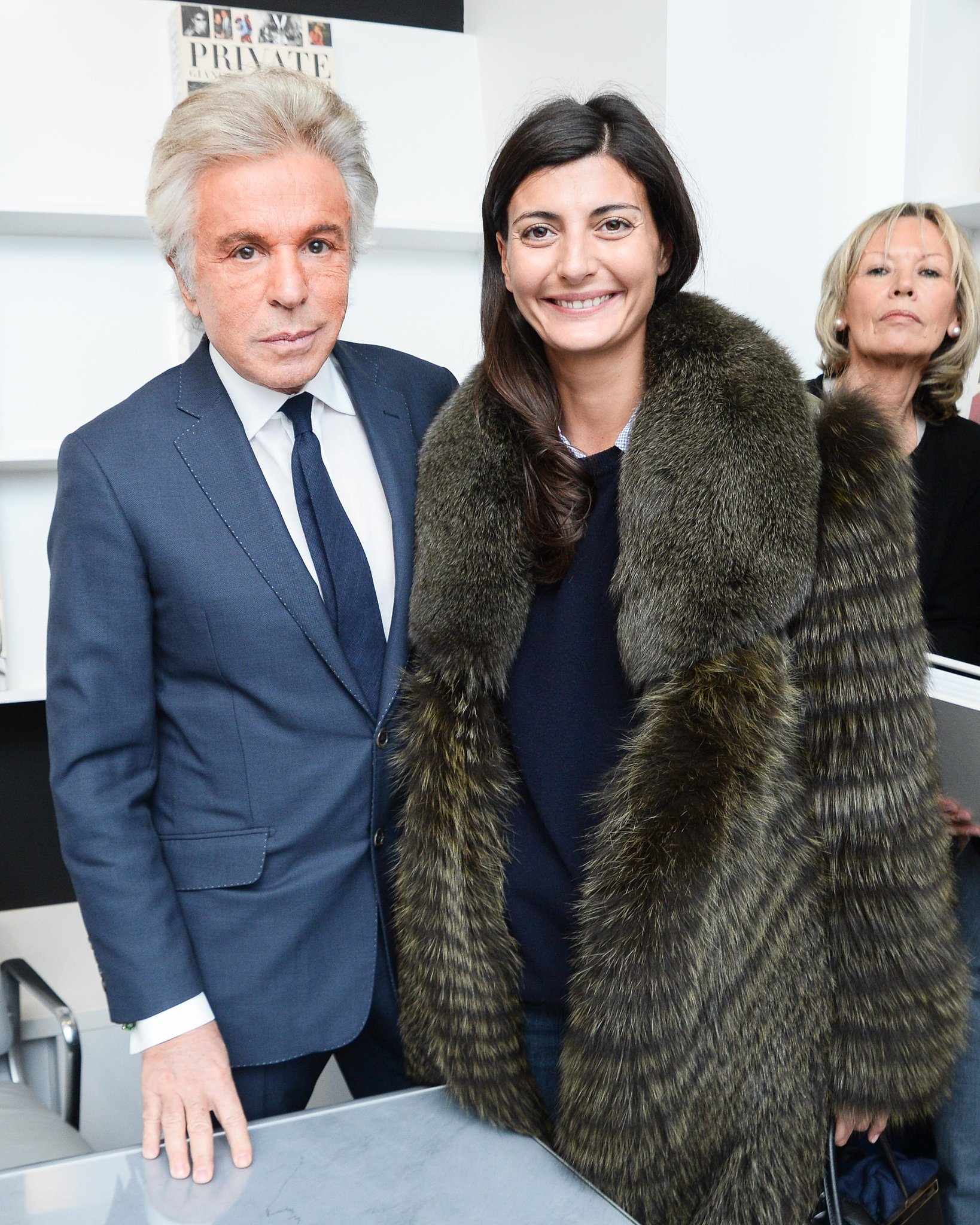 Giancarlo Giammetti and Giovanna Battaglia at the Gagosian Shop fete for Private.