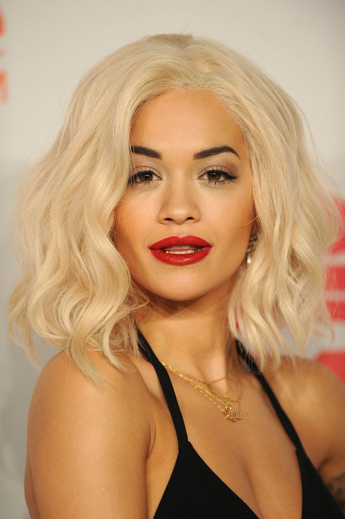 Rita Ora's new, bleached hair paired perfectly with a red lip and bold brows at the MTV EMA Awards.
