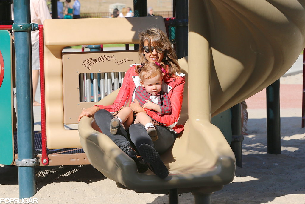 Jessica Alba hit the slides at an LA park with her daughter Haven.