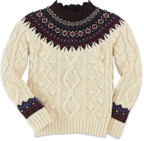 Ralph Lauren Kids Sweater, Little Girls Fair Isle Yoke Mock Neck Sweater