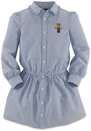 Ralph Lauren Girls Dress, Little Girls Long-Sleeve Oxford Bear Shirtdress