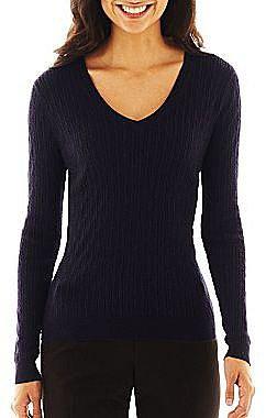 Liz Claiborne Cable V-Neck Sweater