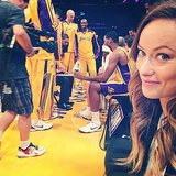 Olivia Wilde sat courtside for an LA Lakers game. Source: Instagram user oliviawilde