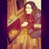 Emmy Rossum got toasty by a fireplace in her trailer on the set of Shameless. Source: Instagram user emmyrossum
