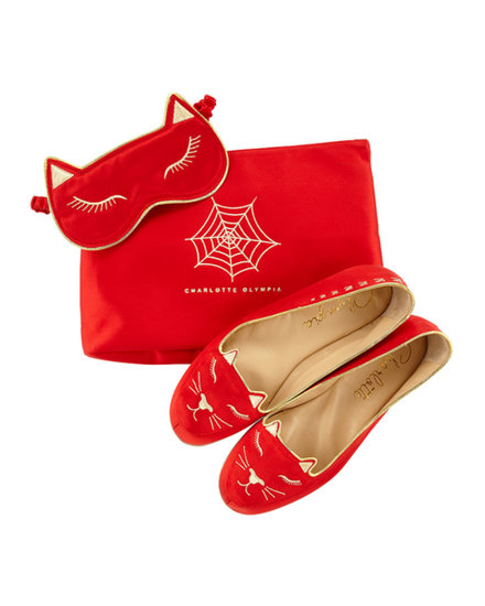 Charlotte Olympia Satin Kitty Slippers and Eye Mask Set ($695)