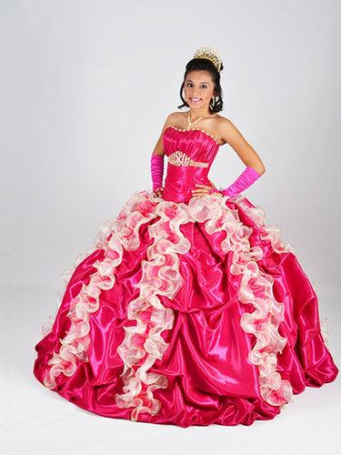 BallGown Strapless Taffeta Floor-length Fuchsia Beading Quinceanera Dress at sweetquinceaneradress.com