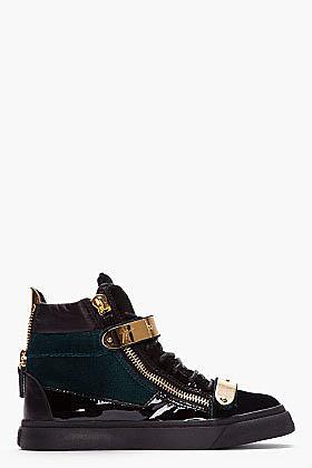 GIUSEPPE ZANOTTI SSENSE EXCLUSIVE Green Velvet Veronica Sneakers