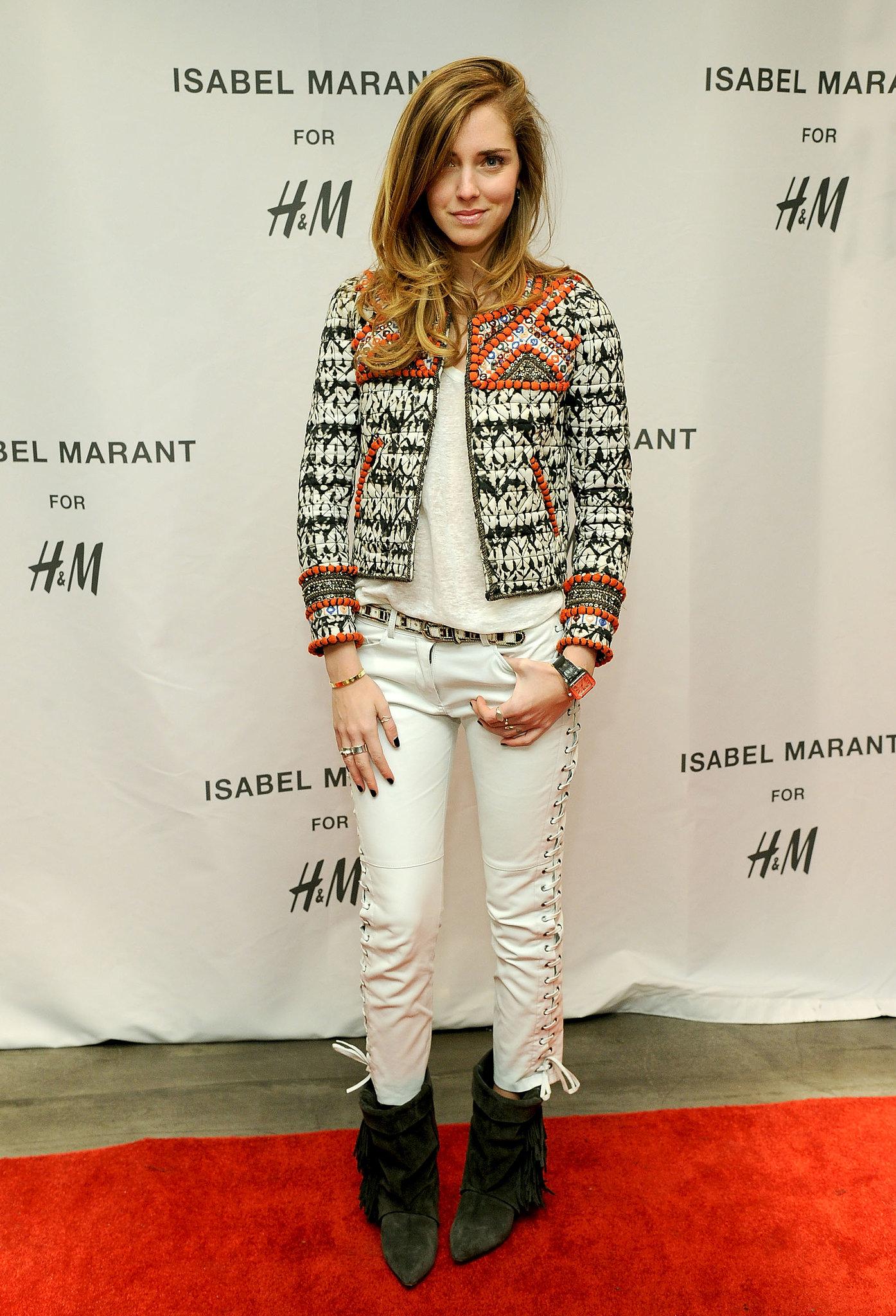 Chiara Ferragni at the H&M Isabel Marant VIP event.