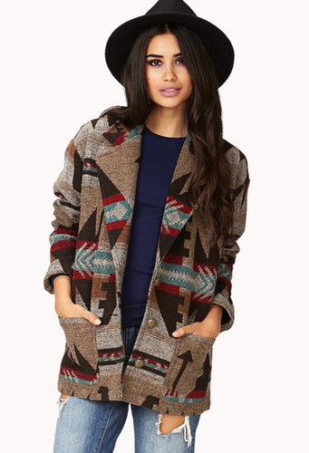 FOREVER 21 Worldly Tribal Print Trench Coat