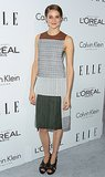 The star celebrated ELLE's 20th's Women in Hollywood celebration in a paneled printed Calvin Klein creation complete with skin-baring side cutouts.