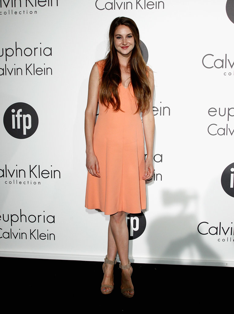 Talk about an orange crush. Woodley chose a sleeveless salmon Calvin Klein dress for a 2012 Cannes Film Festival party thrown by the design house.