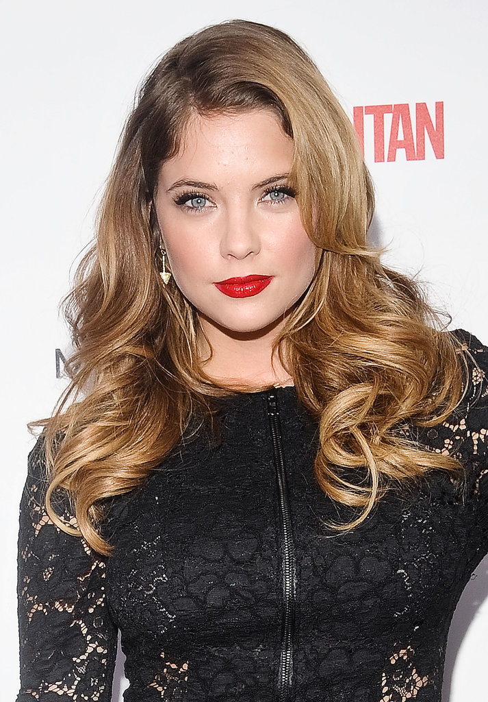 Ashley Benson went for full-on glamour, from those blond curls to her cherry-red lips.