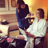 Karlie Kloss got her makeup done with a smile. Source: Instagram user karliekloss