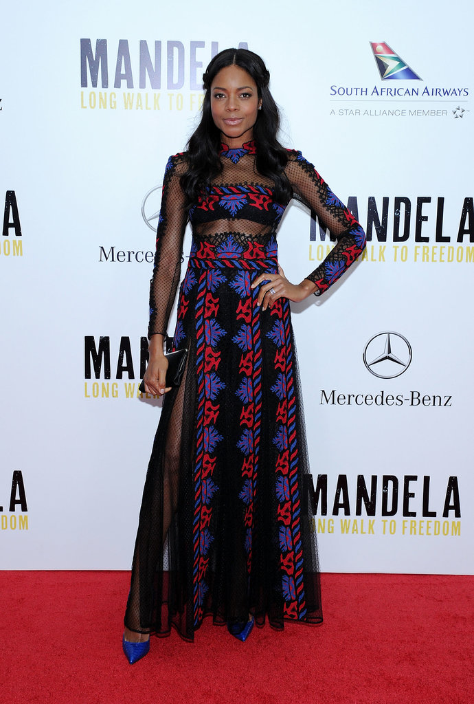 Naomie Harris's dramatic Valentino gown at the NYC premiere of Mandela teamed more of those sheer elements with a tribal motif so striking, you almost forgot that she was showing skin.