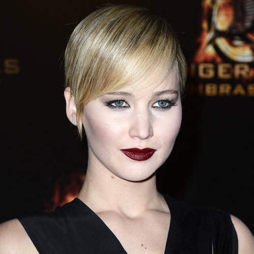 Jennifer Lawrence Sexy Black Dress, Red Lips; Catching Fire