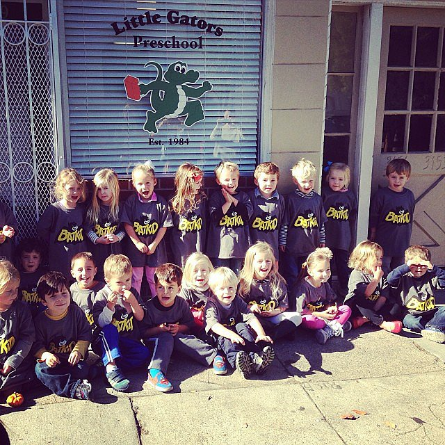 A group of preschool students wearing Batkid t-shirts showed support for Miles. Source: Instagram user kristamoatz