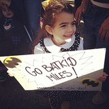An adorable fan held up a sign for Batkid. Source: Instagram user yessiejam