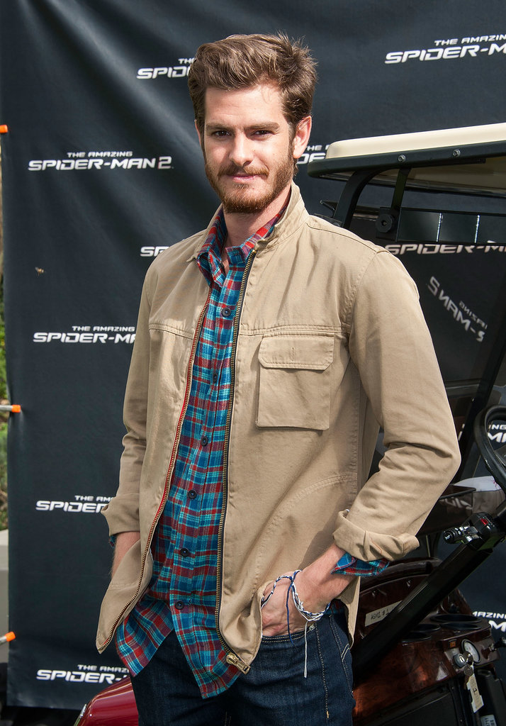 Andrew Garfield showed off some scruff at an Amazing Spider-Man 2 photocall in LA.