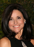 Julia Louis-Dreyfus kept thing classic with a voluminous blowout, black eyeliner, and peachy lips and cheeks.