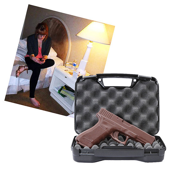 "@juliadavidovich Chocolate Handgun ($30) ""Four guns."""