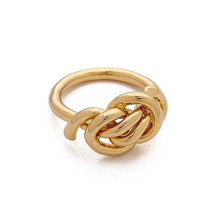 Celebrity stylist Rachel Zoe knows a thing or two about fashion — and accessories — and her Love Me Knot ring ($75) is one of my favorites from her own collection.  — Lauren Turner, celebrity and features editor