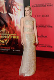 Jennifer Lawrence wasn't the only star who opted for a sheer dress! Jena Malone turned up in a glittering gown with very strategically placed metallic panels.