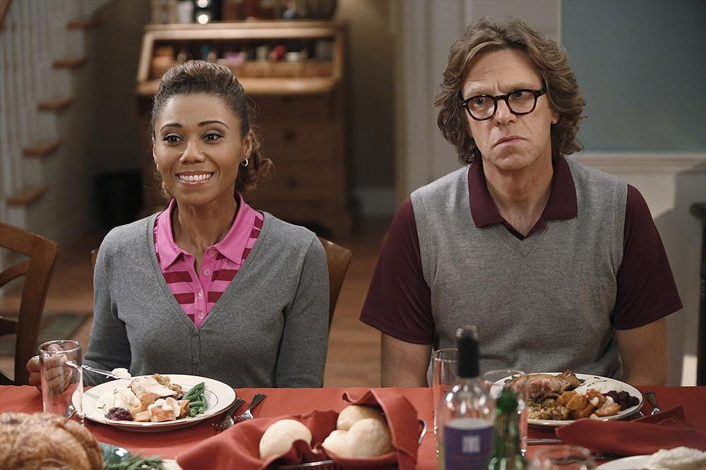 The Neighbors Toks Olagundoye and Simon Templeman on The Neighbors.