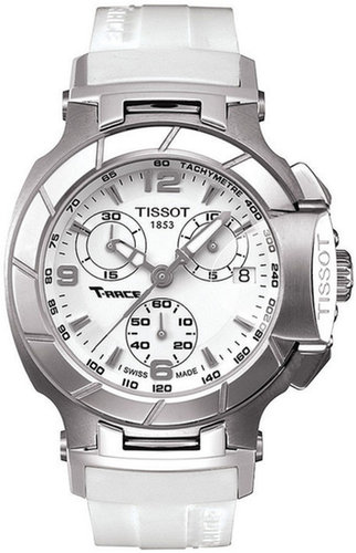 Tissot Watch, Women's Swiss Chrongraph T-Race White Rubber Strap T0482171701700