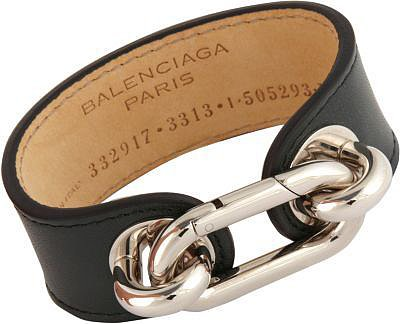 Balenciaga Palladium & Leather Mallion Cuff