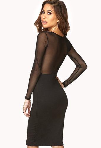 FOREVER 21 Mesh-Paneled Midi Dress