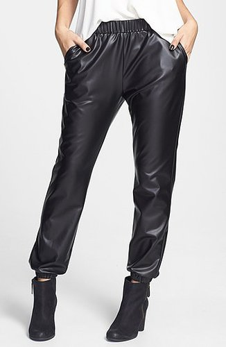 Lily White Faux Leather Track Pants (Juniors)