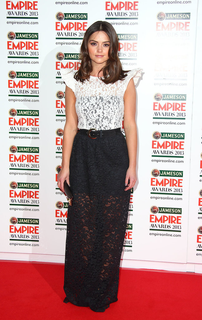 At the Empire Film Awards in March 2013, Jenna continued her love affair with lace, choosing a monochromatic dress with sheer sections.