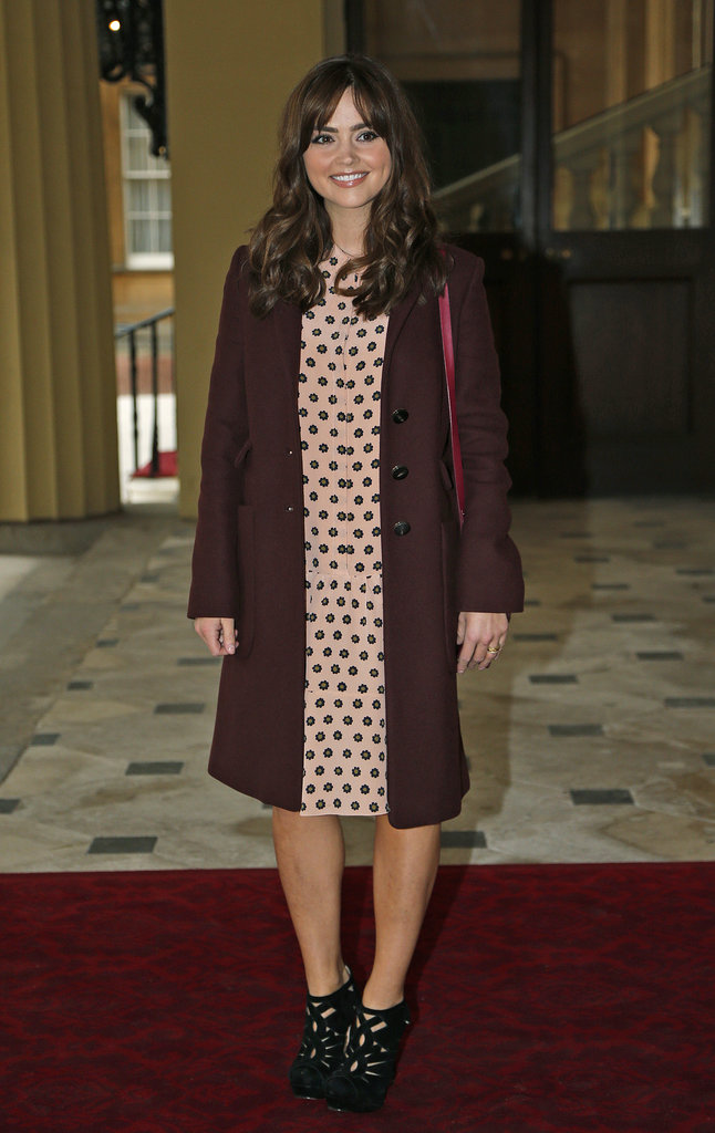 Rubbing shoulders with royalty in the run-up to the Doctor Who 50th anniversary, Jenna chose a polka-dot dress with a burgundy coat and strappy shoes.