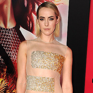 Jena Malone in Sheer Gold Dress at Catching Fire Premiere