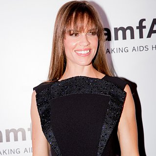 Hilary Swank in Giorgio Armani Dress at amfAR India 2013