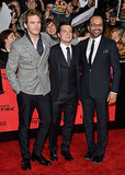 Sam Claflin, Josh Hutcherson, and Jeffrey Wright posed for photos.