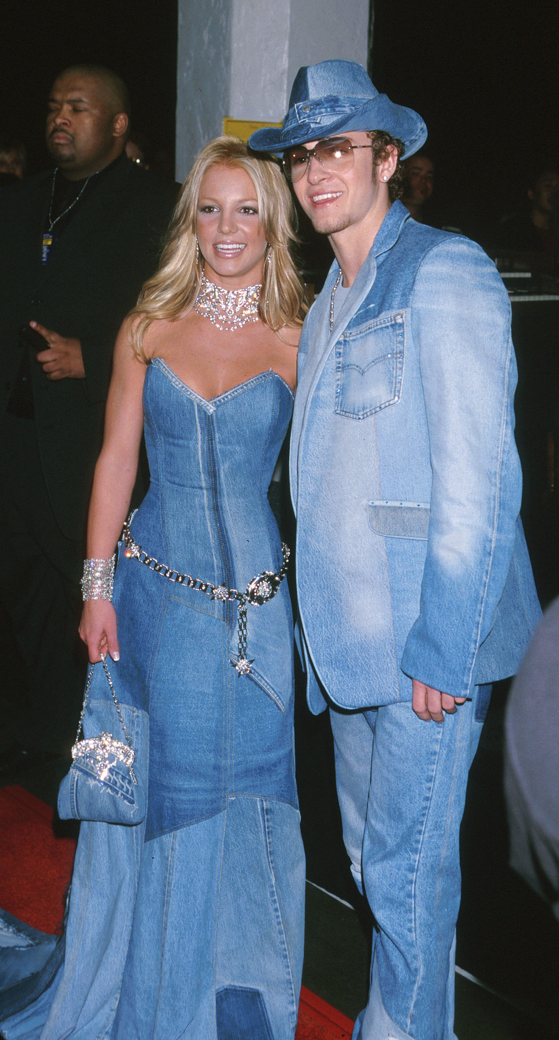 Britney Spears and then-beau Justin Timberlake posed in matching denim ensembles in 2011.