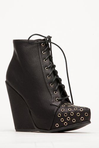 Qupid Black Lace Up Wedge Boots