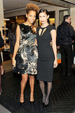 Carly Cushnie and Michelle Ochs at Bergdorf Goodman's Fifth Avenue holiday windows unveiling.