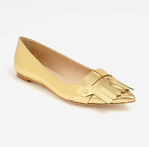 A fringe more common on men's shoes doesn't stop these Kate Spade New York golden girls ($258) from being all female.